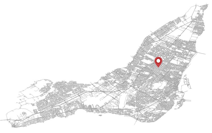 Une carte de Montréal avec un marqueur sur Rosemont.